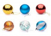set of christmas balls on white background