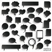 Big Set Black Paper Communication Bubbles Shadows