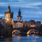 Charles Bridge In Prague At Sunset