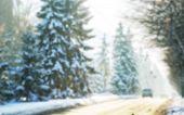 Winter road in city, Blur