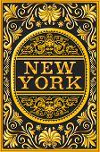 Vintage New York Label Plaque, Black And Gold