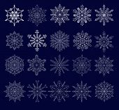 set of twenty openwork snowflakes