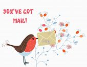 Funny card with bird and mail on flower