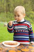 funny boy eats sausage on a picnic