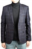 Woolen Jacket Male Checkered Suit In Combination With Jeans