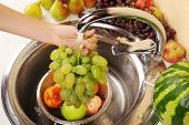Woman's hands washing grapes and other fruits in colander in sink