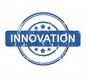 Innovation business concept stamp with stars isolated on a white background.