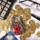 Business Composition Of The Padlock On Coins