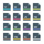 file formats minimal design icons set