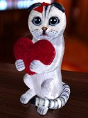Cat And Abstract Heart