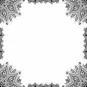 Vector hand drawn black ornamental decorative frame. Isolated on