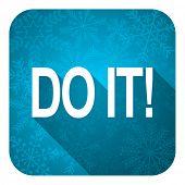 do it flat icon, christmas button