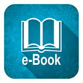 book flat icon, christmas button, e-book sign
