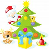 Christmas Design With Santa Claus, Xmas Tree, Candle, Reindeer, Star, Gift, Bear