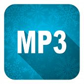 mp3 flat icon, christmas button