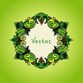 Fresh green background with floral frame. Summer template