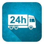 delivery flat icon, christmas button, 24h shipping sign