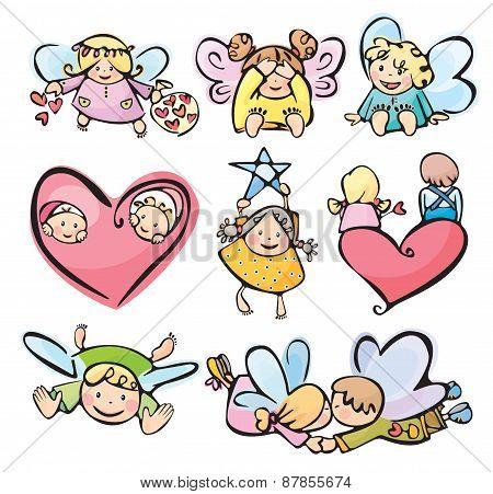 Постер, плакат: Vector little angels cartoons , холст на подрамнике