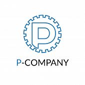 image of letter p  - Vector modern minimalistic blue P letter cog logotype - JPG