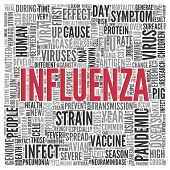 pic of influenza  - Close up INFLUENZA Text at the Center of Word Tag Cloud on White Background - JPG