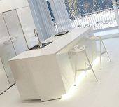 image of stool  - Modern White Kitchen with Illuminated Island and Stools Inside Home in Winter - JPG