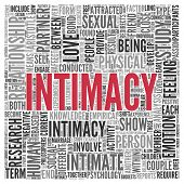 stock photo of intimacy  - Close up INTIMACY Text at the Center of Word Tag Cloud on White Background - JPG