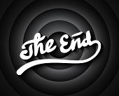 Old Movie Ending Screen With Black And White Gradient Circles Background, Stylized Noir The End Lett poster