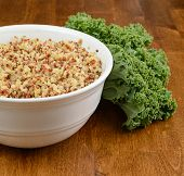 picture of kale  - A bowl of quinoa with fresh kale.