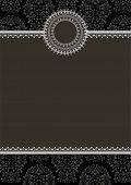 image of damask  - Frame on seamless damask background - JPG