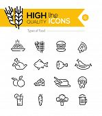 stock photo of meat icon  - Types of Food line Icons including - JPG