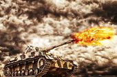 foto of ww2  - Military Tank firing with dark storm clouds in background concept of war and conflict - JPG