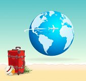 stock photo of sunny beach  - Red vacation travel suitcase on sunny beach with globe and airplane flying across - JPG