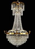 pic of chandelier  - Contemporary glass chandelier isolated over black background - JPG