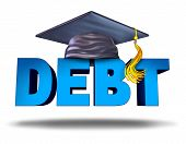 stock photo of student  - Student debt financial concept as a graduation mortar board on the word for school tuition loan repayment or lending and education financing symbol for university and college students on a white background - JPG