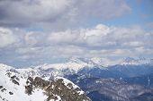 stock photo of sochi  - Cloudy mountain landscape of Krasnaya Polyana - JPG
