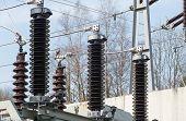 stock photo of transformer  - high voltage transformer station - JPG