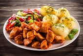 image of boil  - Grilled meat with boiled potatoes and vegetables - JPG