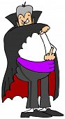 foto of cloak  - This illustration depicts a vampire holding his cloak to cover his face and flipping the bird - JPG