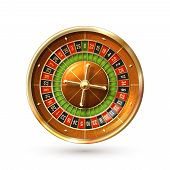 pic of  realistic  - Realistic casino gambling roulette wheel isolated on white background vector illustration - JPG