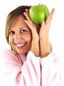 stock photo of housecoat  - Woman in housecoat with apple isolated on white background - JPG