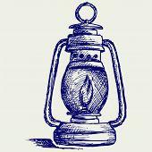 stock photo of kerosene lamp  - Kerosene lamp - JPG