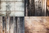 stock photo of combinations  - Combination of clear wooden boards backgrounds with texture - JPG