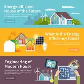 stock photo of temperature  - Energy saving house horizontal banner set with temperature control system elements isolated vector illustration - JPG
