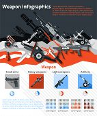 image of artillery  - Weapon infographics set with military machines army artillery and charts vector illustration - JPG