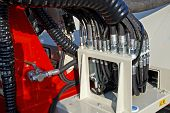 stock photo of hydraulics  - Hydraulic Control system and tubing for petrol industry - JPG