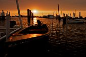 Sunrise over the boats of Tangier Island.