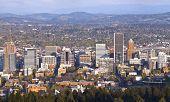 stock photo of portland oregon  - Portland Oregon city panorama from Pittock Mansion - JPG