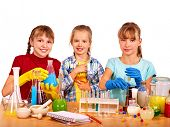 pic of chemistry  - Child holding flask in chemistry on isolated - JPG
