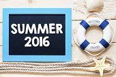 image of starfish  - Summer 2016 Text written on blackboard with starfish - JPG