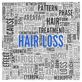 picture of male pattern baldness  - Close up HAIR LOSS Text at the Center of Word Tag Cloud on White Background - JPG